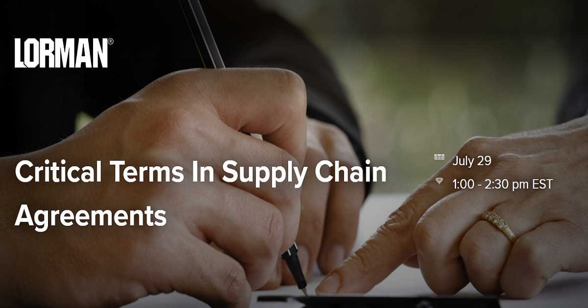 Critical Terms In Supply Chain Agreements