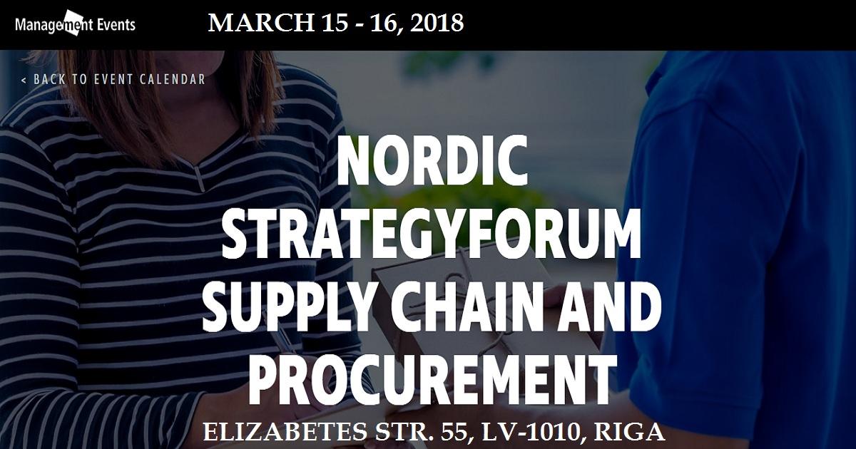 Nordic Strategyforum Supply Chain And Procurement   March 15